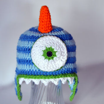 Boys Monster Hat, Toddler Dress Up Constume, Baby Boys Character Hat, Kids Crochet Hat, Boys Knit Hat, Toddler Boys Crochet Hat, Blue Stripe