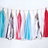 Retro Holiday Tassel Garland - Red, Blue, Aqua, White Christmas Tissue Paper Tassel Garland - Christmas Decoration // Baby Shower // Holiday