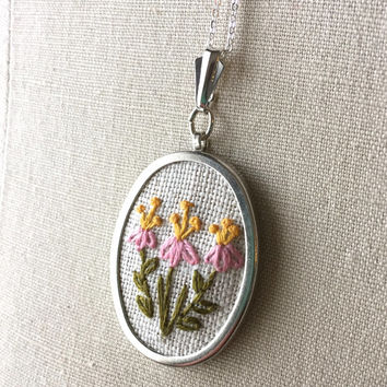 Embroidered Pink Honeysuckle Flower Necklace Embroidery Jewelry Flower Pendant or Brooch