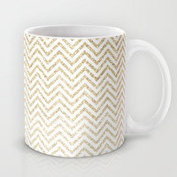 Gold Glitter Ombre Chevrons Mug by Doucette Designs