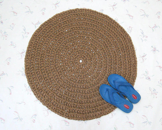 Round Crochet Jute Rug Natural Fiber From Exotiflora