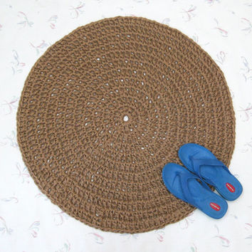 Round Crochet Jute Rug - Natural Fiber Mat - Rustic Decor - Soft Thick Area Rug - Doily Rug -  Burlap Rug - Jute Floor Covering - Primitive