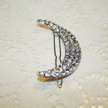 Shining Moon Barrette • Moon Hair Clip • Crescent Moon Hair Pin • Silver Hair Clip • boho • weddings • Crystal Cresent Hair Accessory •