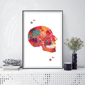 Trigeminal Nerve watercolor print anatomy art poster cranial nerves print maxillary nerves medical art neurology wall art decor