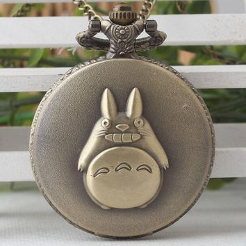 New Animation cartoon neighbor totoro Bronze antiques Flip clock students and men Necklace pocket watches