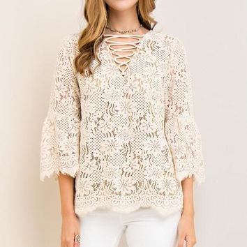 Lace top with strappy detail at bust - Taupe