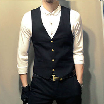 Men SM6azers and Jackets Dress Suit Vests Veste De Loisir Men's Casual Slim Fit Sleeveless SM6azers Jackets SM6