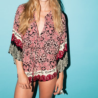 calypso womens printed romper with kimono sleeves