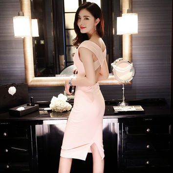 real photo 2016 new summer fashion party slim cute sexy sleeveless S M L backless 2 colors woman's Casual sheath tank dress