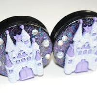 Fairytale Castle 2 inch (50mm) Plugs, Ear Gauges, Women, Pearls, Glitter, Purple, One Of A Kind, Stretched Ears, Rhinestone, Plugs for Girls