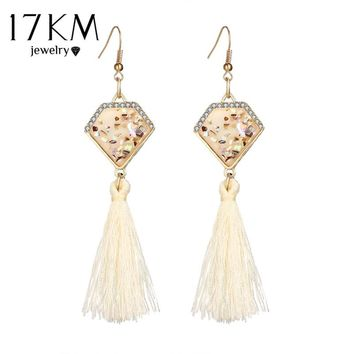 Bohemian Multicolor Tassel Hook Dangle Crystal Long Chandelier Earrings