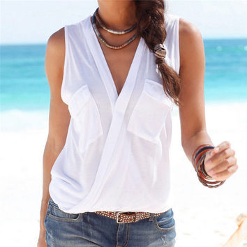 Sexy Deep V-neck Sleeveless Tops