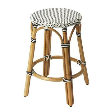 Tobias Black & White Rattan Counter Stool