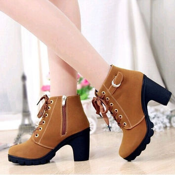 Women Platform High Heel Single Shoes Vintage Women Motorcycle Boots Martin Boots [8400946439]