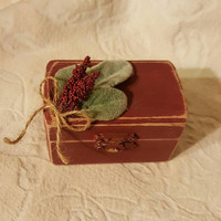 Bohemian Boho Shabby Chic Sage and Wine Wedding Ring Box Beautiful Vintage Victorian trinket or memory box