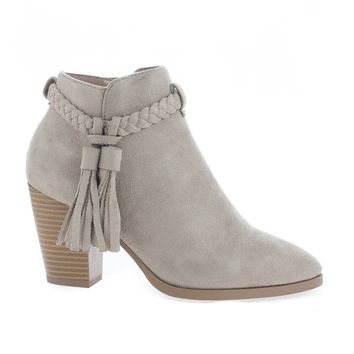 Issey Clay By Delicious, Clay Suede Western Tassel Stacked High Heel Ankle Boots