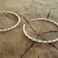 Sterling Silver Twisted Hoop Earrings