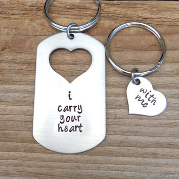 Hand stamped dog tag with heart cut out I carry your heart with me his and her keychain set