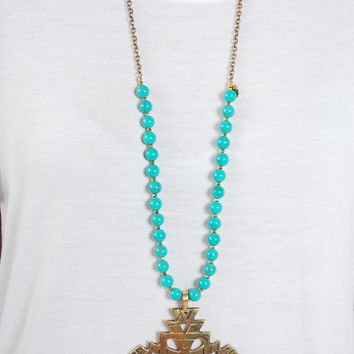 Engraved Pendant Necklace - Turquoise