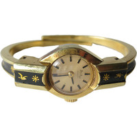 Bel Art Geneve Mechanical Enameled Bracelet Watch in Working Condition / Vintage Jewelry