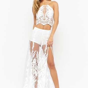 Embroidered Lace Halter Top & Maxi Skirt Set