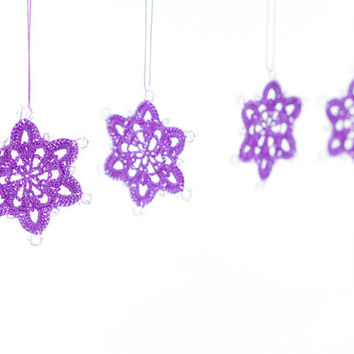 Snowflake Christmas Ornaments / Enchanting Decoration / Crochet Lace Snowflakes / Set of 4 / Purple Snowflakes / Xmas Tree / Winter Decor