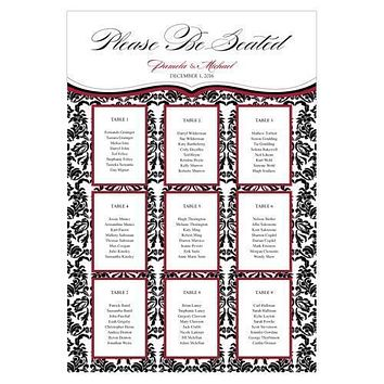 Personalized Seating Chart Kit with Love Bird Damask Design Berry (Pack of 1)