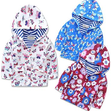 Fashion girl Outerwear Coats blazer cotton floral baby jackets cotton Trench Spring Girls Hood Jackets Baby raincoat