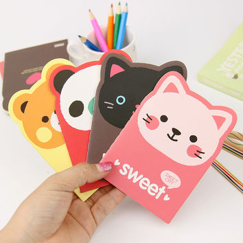 1 Pcs Kawaii Cartoon Creative Stationery Office Supplies School Notebook Diary Panda Bear Notepad Color Random