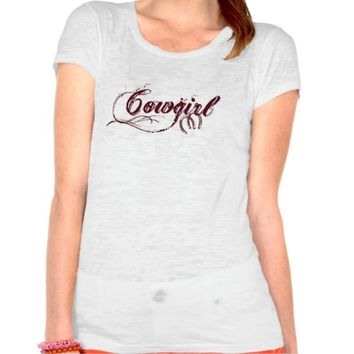 Ladies fitted short sleeve Burn Out Cowgirl Tee