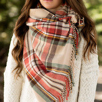 Plaid To The Bone Scarf-Cream