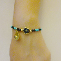 Turquoise Bead Bracelet - Protection Bracelet - Evil Eye Bracelet - Enamel Evil Eye Charm and  Evil Eye Flower 22 k Gold Plated - Friendship