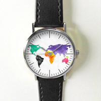 2016 Map Watch , Women Watches,  Leather Watch, Men's Watch,  Boyfriend Watch, Ladies Watch, Silver Gold Rose , Unique Gift World Map Spring