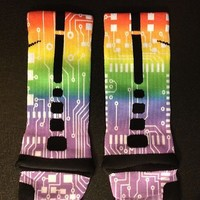 NEW Custom Nike Elite Crew Socks Rainbow - L