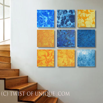 Oversized Abstract Painting / ORIGINAL 9 square ( 15 Inch x 15 Inch)/  45 Inch x 45 Inch abstract wall art / yellow, orange, white, blue