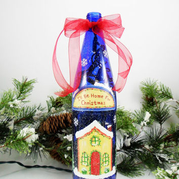 Lighted Blue Wine Bottle I'll Be Home Christmas Hand Painted Winter 750ml