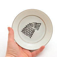 Game of Thrones spoon rest, House of Stark, Jon Snow home and living ,ceramics and pottery , ring dish , key plate , metallic silver