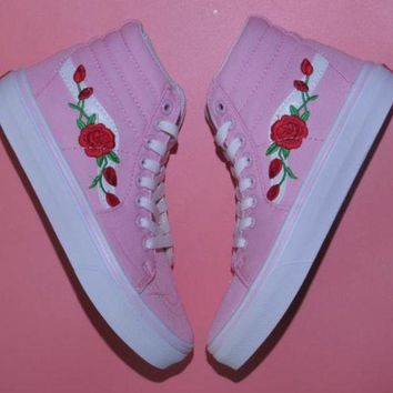 DCK7YE Vans & AMAC Customs Rose Embroidery Fashion casual shoes pink high Gang