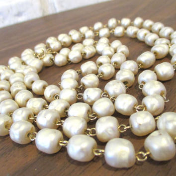 Vintage Baroque Glass Pearl Beaded Strand Necklace 55 Inches Long Miriam Haskell