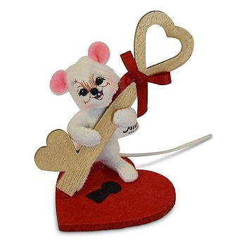 Annalee Dolls 2018 Valentine 3in Key to My Heart Mouse Plush New with Tags