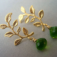 Gold Branch and Peridot Green Quartz Earrings, Woodland