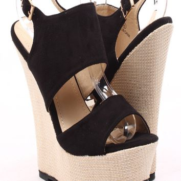 BLACK FAUX SUEDE BAMBOO WOVEN PLATFORM WEDGE SANDALS
