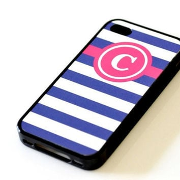 Nautical Monogram iPhone Case - Fuchsia & Navy Stripes