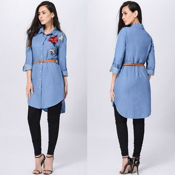 Long Sleeve Blue Jean Collared Rose Shirt