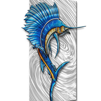 Metal Wall Art Sculpture Painting - Authentic Modern Artwork - Abstract Fish Wall Hanging 'Sailfish 2' by Megan Duncanson