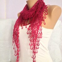 Christmas Scarf - Fushia Pink Scarf  -Lace Scarf -  Triangle Dainty Shawl Scarf -  Bridesmaids Gift Accessories