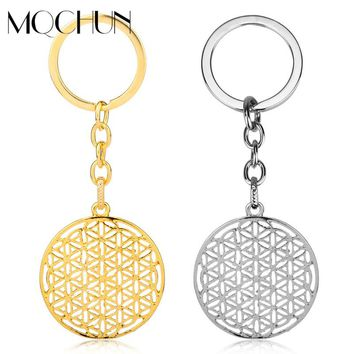 MQCHUN New Round Flower of Life Keychain Pendants Mandala Accessories Handmade Jewelry for Women Men Birthday New Year Gifts