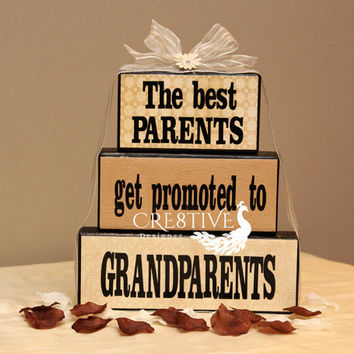 The best Parents get promoted to Grandparents Wood Blocks Décor