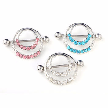 Women Men Body Jewelry Piercing Crystal Double Round Belly Bar Button Ring SM6