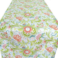 """6 ft. Table Runner - 12"""" x 72"""" - Coral Teal Yellow Blue Green Flowers - Everyday, Wedding - Reversible Table Topper"""